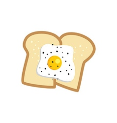 fried egg toast vector image