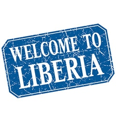 Welcome to liberia blue square grunge stamp vector