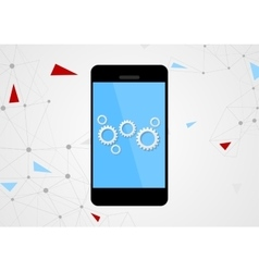 Mobile phone and gears on touchscreen vector