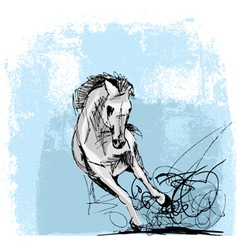 Sketch of white horse running vector