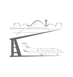 Airport building and airplane vector