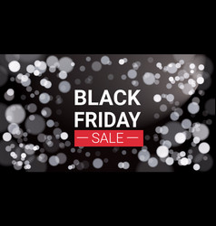 black friday sale flyer design with white lights vector image