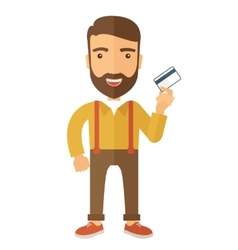 Business man holding credit card vector image