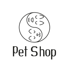 Cat and dog like Yin Yang sign for pet shop logo vector image vector image