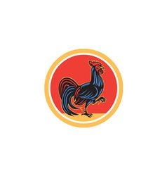 Chicken rooster marching walking circle retro vector