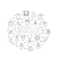 Christmas Flat Icons Drawing Lines on White vector image vector image