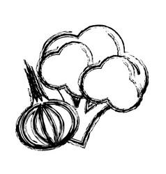 Contour broccoli and garlic vegetable icon vector