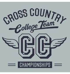 Cross Country College Team t-shirt design vector image vector image