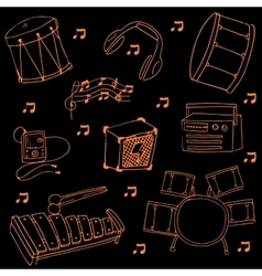Doodle of music set on black backgrounds vector image