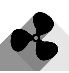 fan sign black icon with two flat gray vector image
