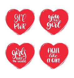 Fight like a girl grl pwr etc hand lettering set vector