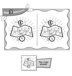 Find 9 differences game travel map black vector