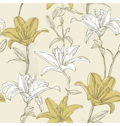 floral seamless pattern with lily vector image vector image