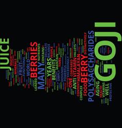 Goji juice text background word cloud concept vector