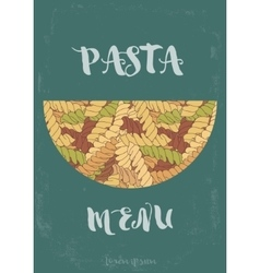 Hand-drawn italian pasta fusilli background vector image