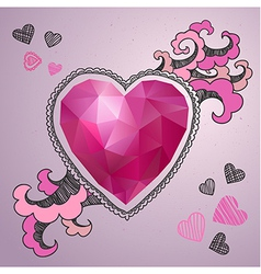 Happy Valentines Day card Polygonal heart with the vector image vector image