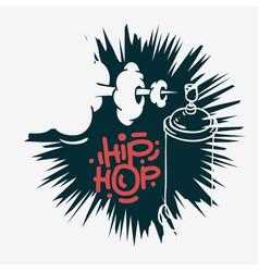 hip hop design with a graffiti spray can baloon vector image