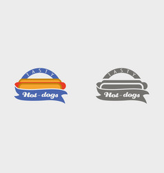 Hotdog badge labels logos or icons design vector