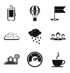 Luggage packing icons set simple style vector