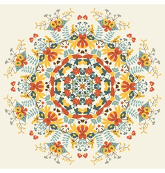 Ornamental round floral pattern vector
