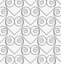 Perforated swirly hearts in grid vector