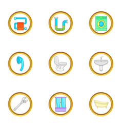 Plumbing service icons set cartoon style vector