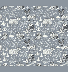 polar animals seamless pattern isolated on gray vector image vector image