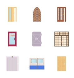 Security door icons set cartoon style vector