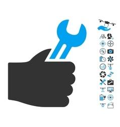 Service hand icon with air drone tools bonus vector