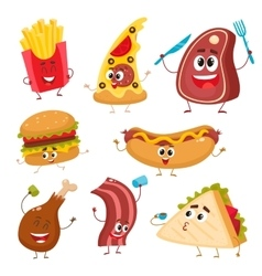 Set of funny cartoon fast food characters vector image
