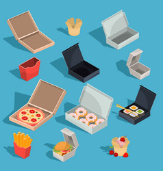 Set of isometric of fast food vector
