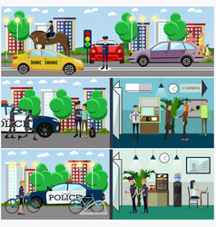 Set of police concept posters banners in vector