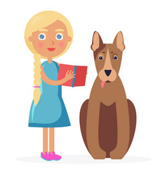 Small girl stands with bull terrier and holds book vector