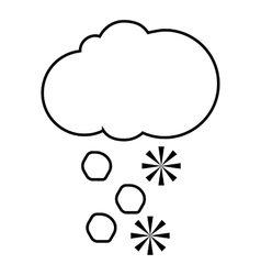 Snowy cloud icon outline style vector