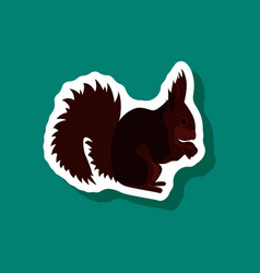 Squirrel paper sticker on stylish background vector