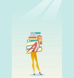 Student with pile of books vector