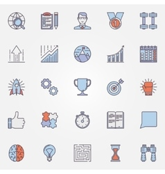 Success flat line icons vector image