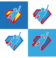 Superhero icon set vector image vector image