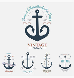 vintage retro anchor badge sign sea ocean vector image vector image