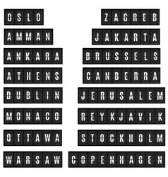 World big cities capitals names in airport time vector