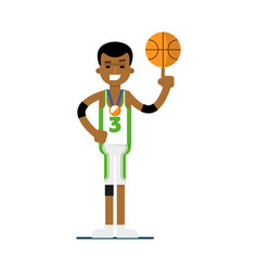 Young black man basketball player with ball vector