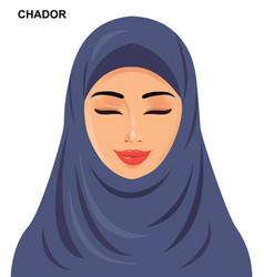 - chador headgear arabic muslim woman vector