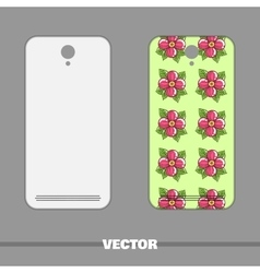 Phone Cover Pink Flowers On Green vector image