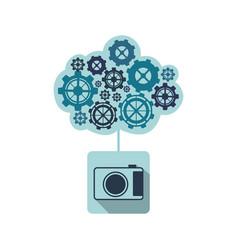 Blue camara with cloud of gears icon vector