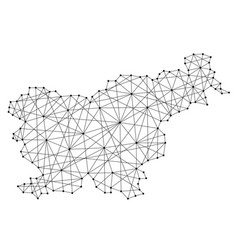 Map of slovenia from polygonal black lines vector