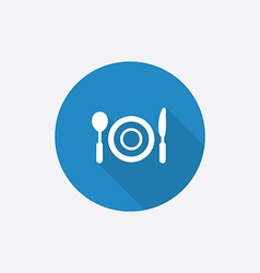 Restaurant flat blue simple icon with long shadow vector