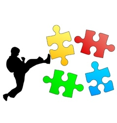 Jigsaw puzzle silhouette of karate breaks leg vector