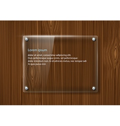Glass frame on a wooden surface vector