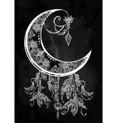 Ornate crescent moon vector