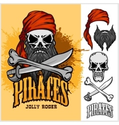 Pirate skull in red headband with cross sword and vector